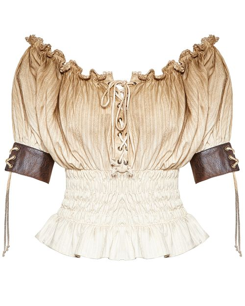e4d055bead7 Pirate Costumes · Punk Rave Emmaline Gypsy Top - Womens White Brown Gothic  Steampunk Boho Tee Vestido Medieval