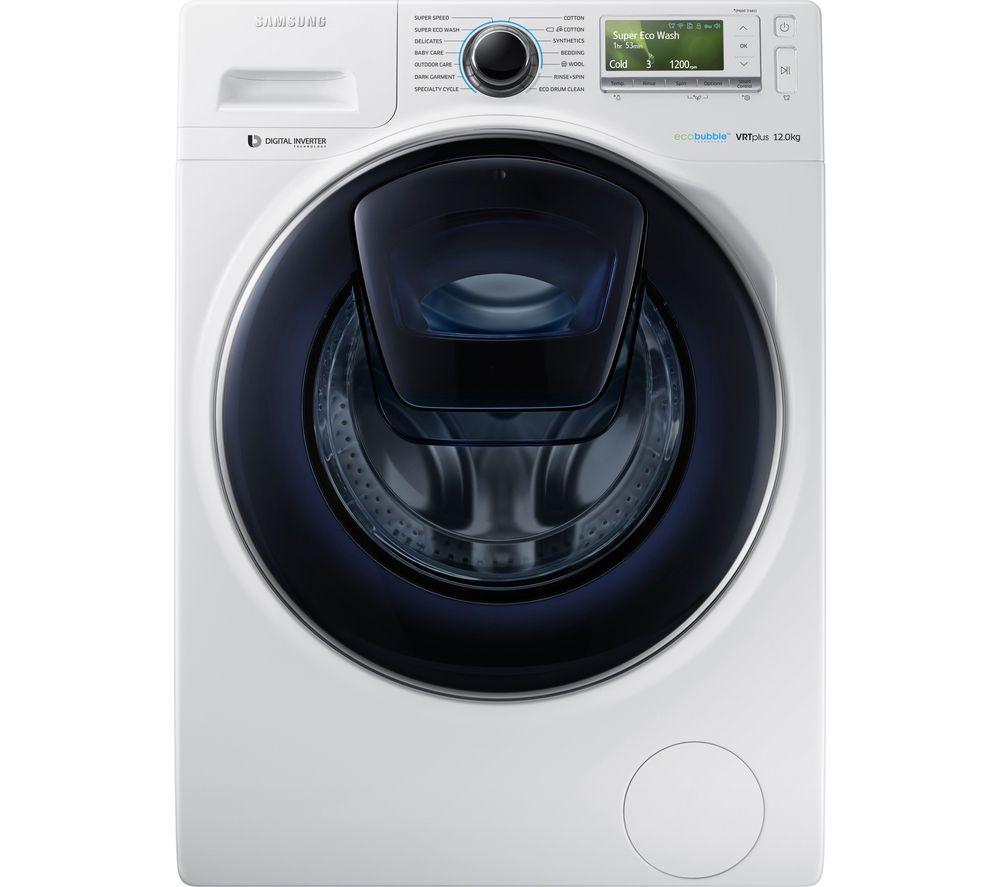 Samsung Addwash Ww12k8412ow Eu Washing Machine White Front Loading Washing Machine Washing Machine Samsung Washing Machine