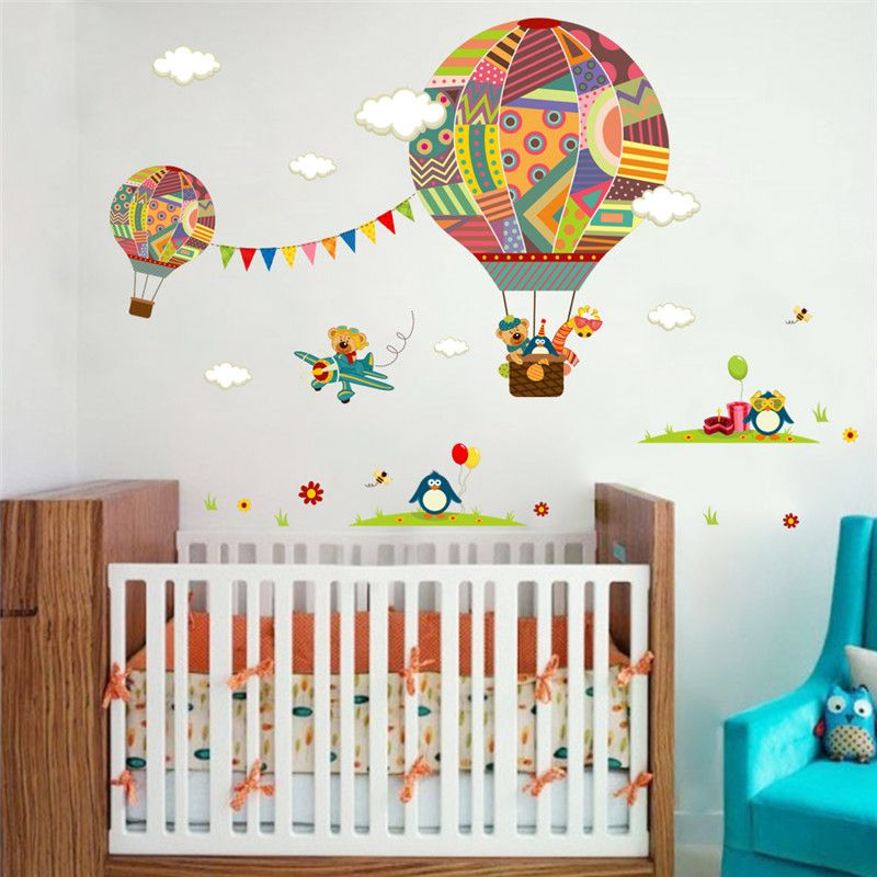Colorful Hot Air Balloon Animal Nursery Room Wall Sticker Bear Giraffe Children S Cartoon