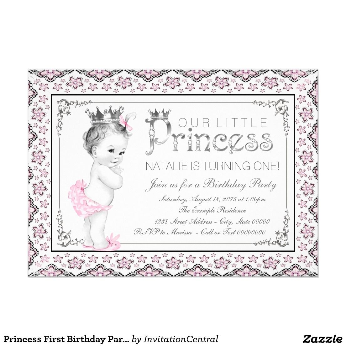 Princess First Birthday Party Card | Kids Birthday Party | Pinterest ...