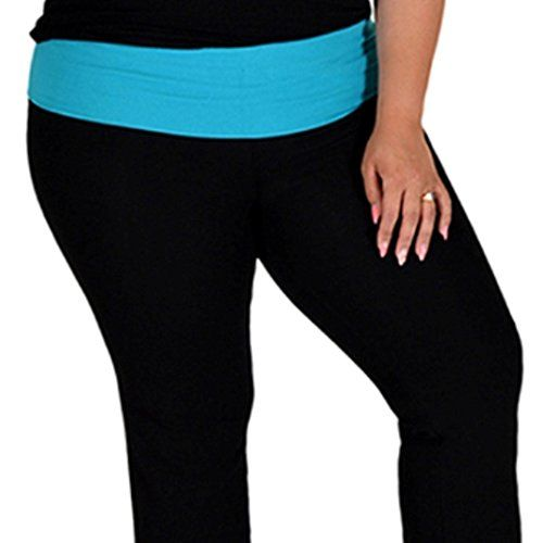 af4bacf494a Stretch is Comfort Womens Foldover Plus Size Color Yoga Pants Ocean Blue  XXXLarge     You can find more details by visiting the image link.