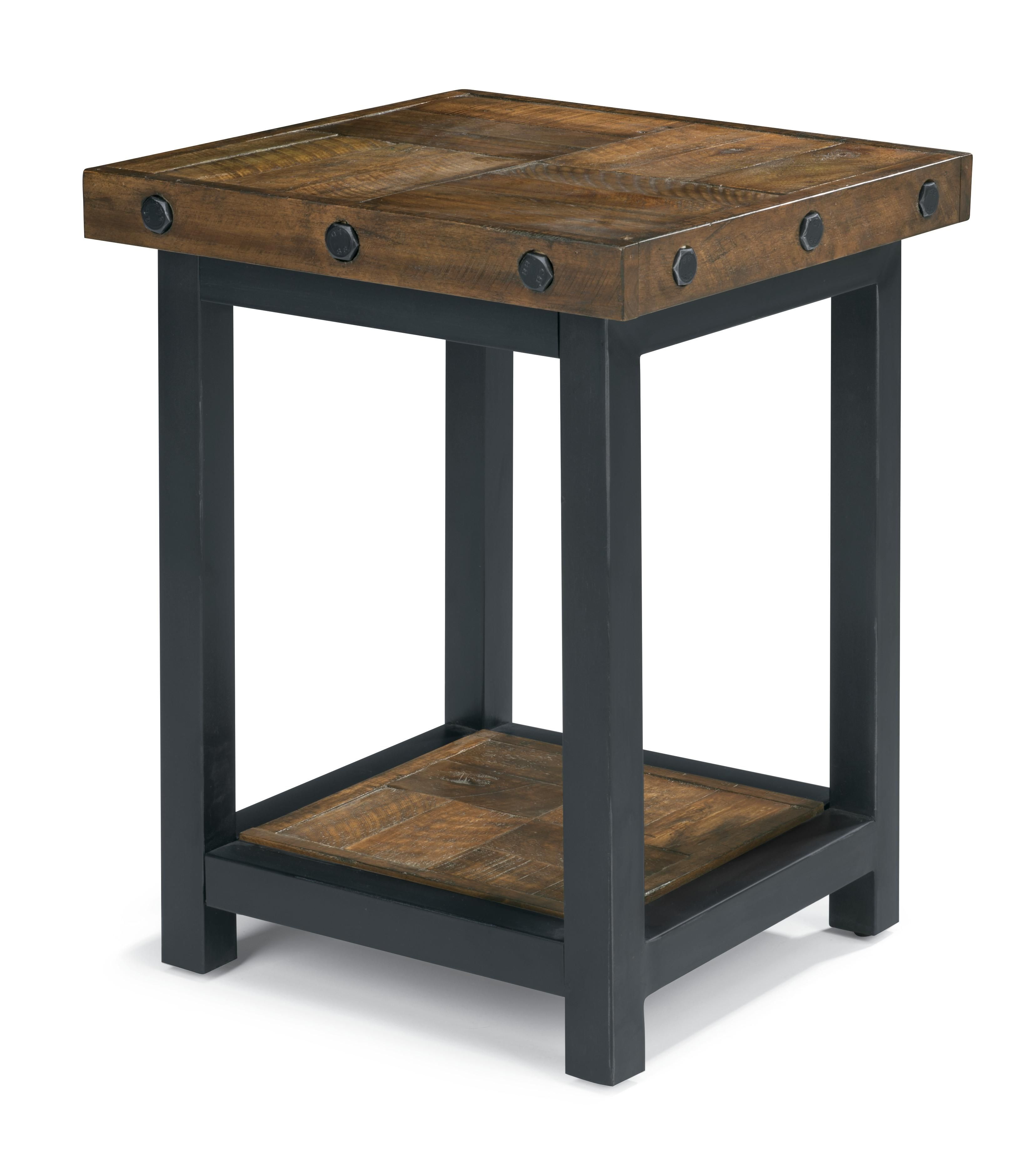 Wolf\'s Furniture - Chair Side Table with Square Reclaimed Wood Top ...