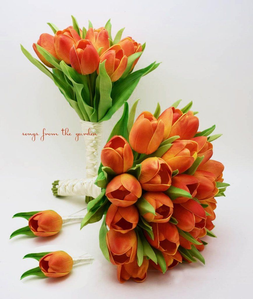 Fall Wedding Real Touch Orange Tulips Bridal Bouquet Bridesmaid