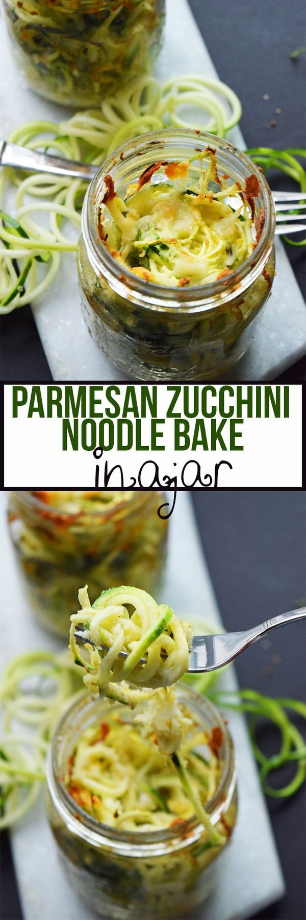 Made with only 5 ingredients, this simple Parmesan Zucchini Noodle Bake In A Jar is the perfect summer side dish. It's portable, too!