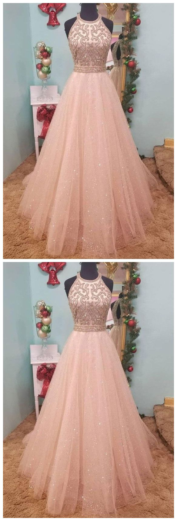 Floor Length Jewel Sleeveless Prom Dress with Beading, Sparkly Tulle Party Dress