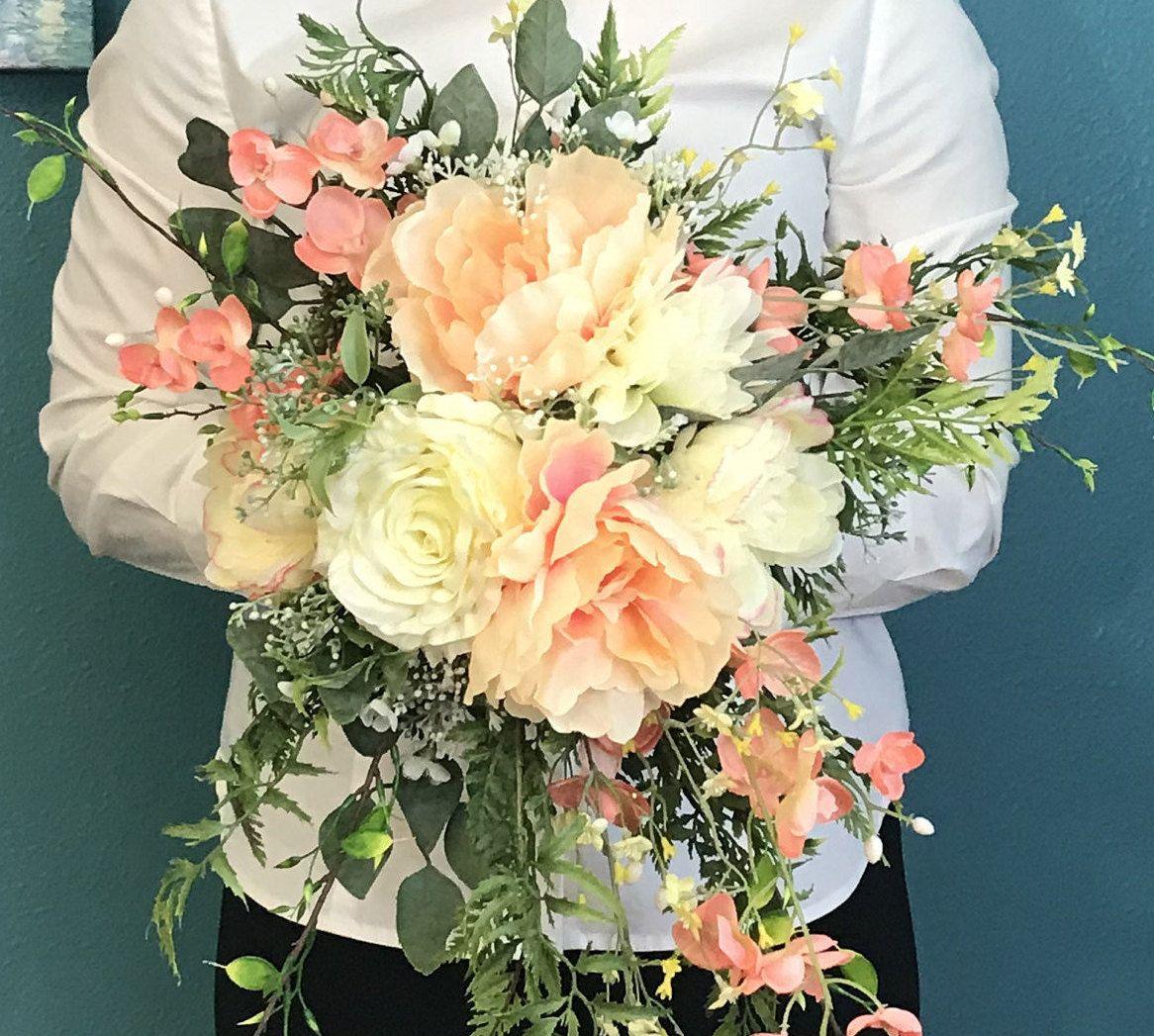 Ultra Romantic Coral & Soft Yellow Silk Cascading Bridal