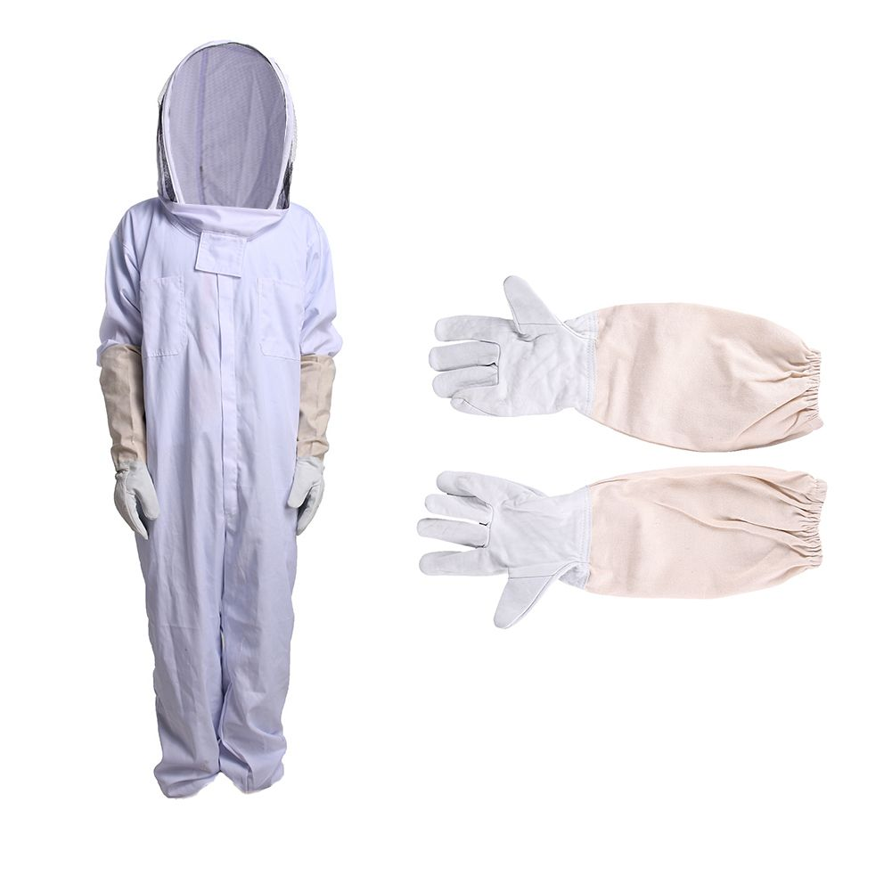 HeavyDuty Polyester Full Body Beekeeping Suit Veil Hooded Hat Protective XXL