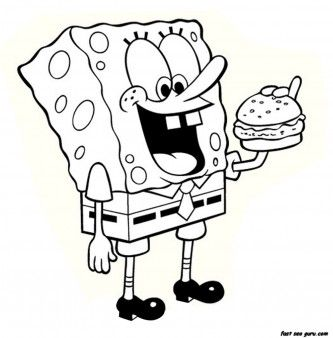 Printable Cartoon Spongebob Eating Hamburger Coloring Page