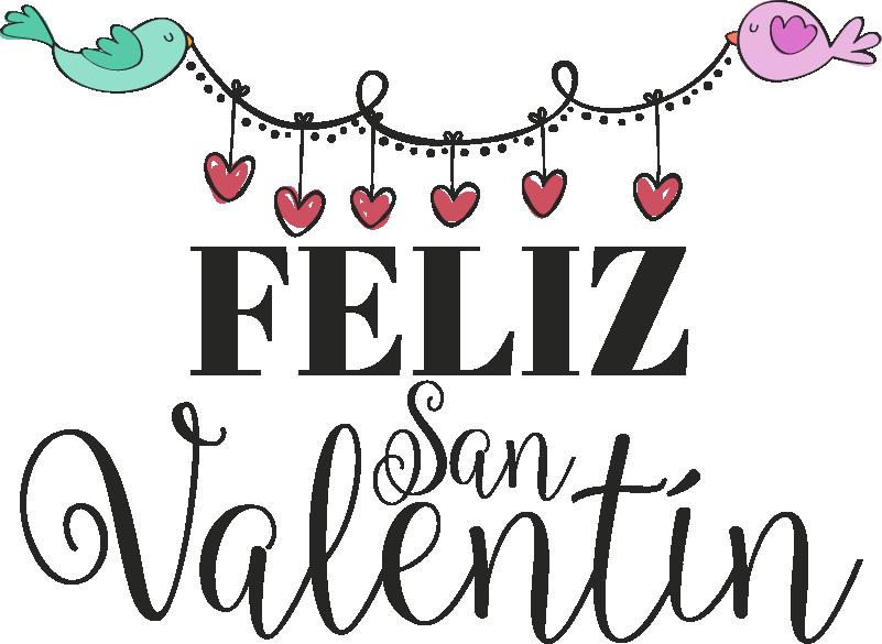 Vinilo Frase Pajaritos San Valentin Tenvinilo San Valentin Feliz Dia De San Valentin Feliz San Valentin