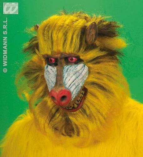 Yellow Blue And Black Baboon Mask Monkey Rafiki Lion King Fancy Dress