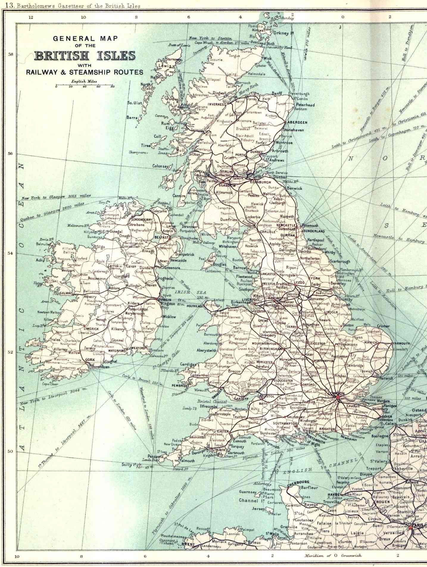 Map Of Uk 1900.British Railway And Sea Routes In 1900 1434x1905 Vintage Maps