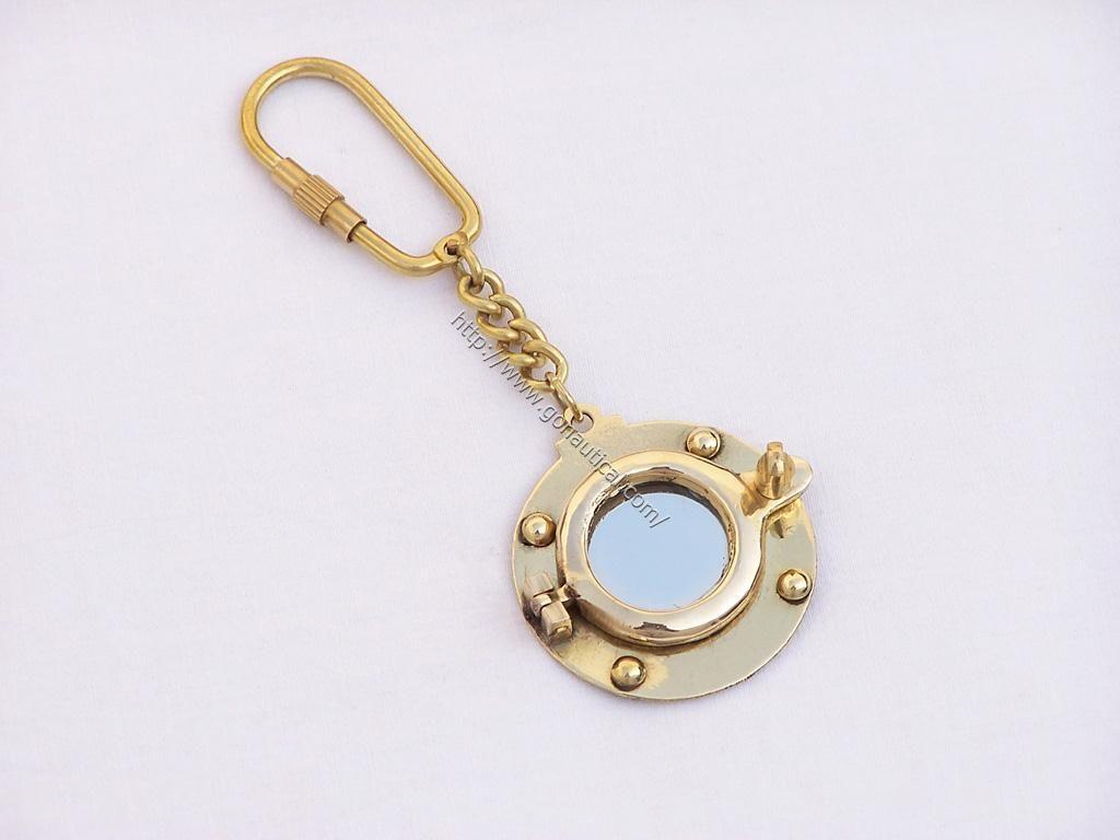 Hampton Nautical  Solid Brass Red Ship Lamp Key Chain Brass 4