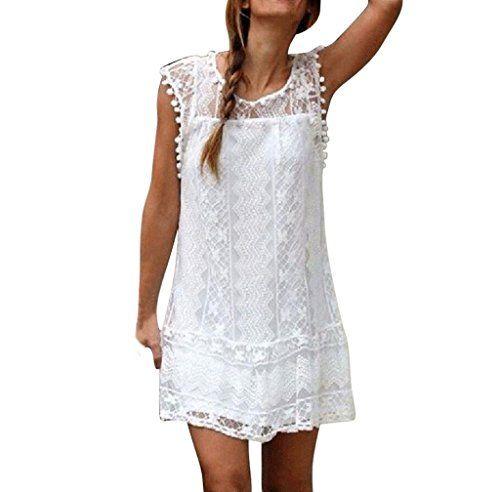 c63908b356 Robe FemmesFNKDOR Femmes Été Décontractée Dentelle Sans Manches Plage Robe  Courte Gland Mini Robe (blanc