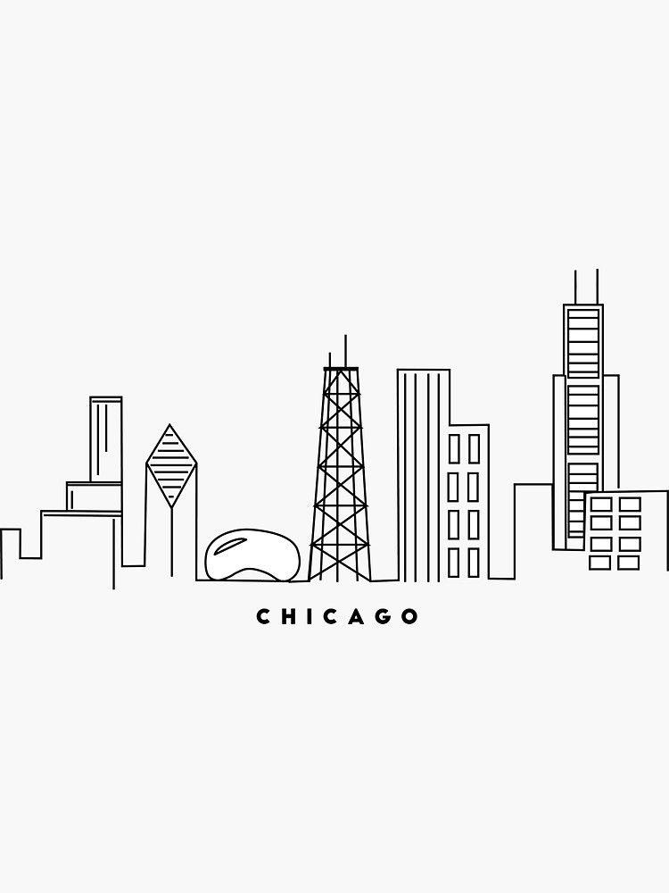 Chicago skyline sticker by kate maurer chicago skyline