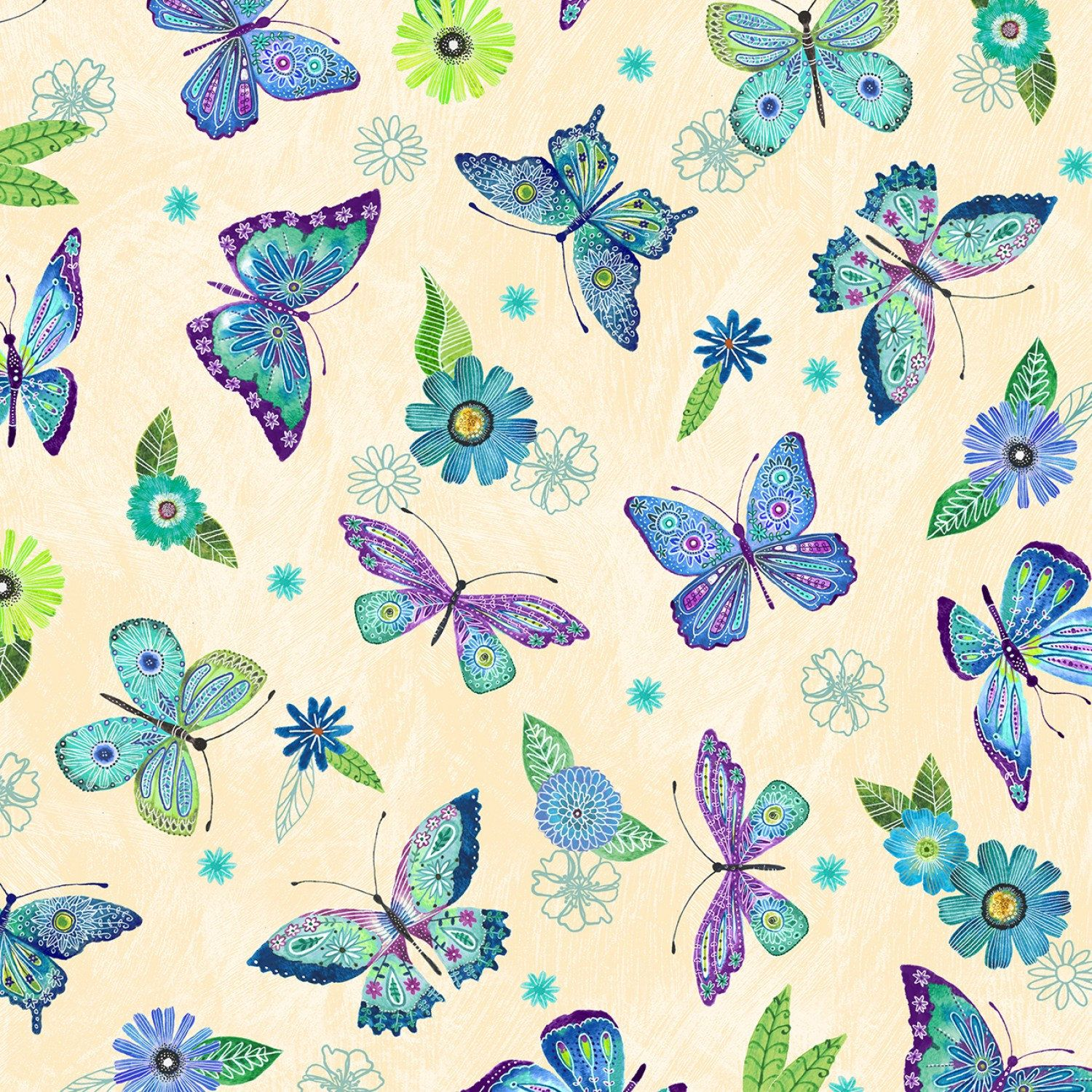 Lavender,Yellow Red Butterflies on White Background-3 Wishes Fabric-BTY-Pink
