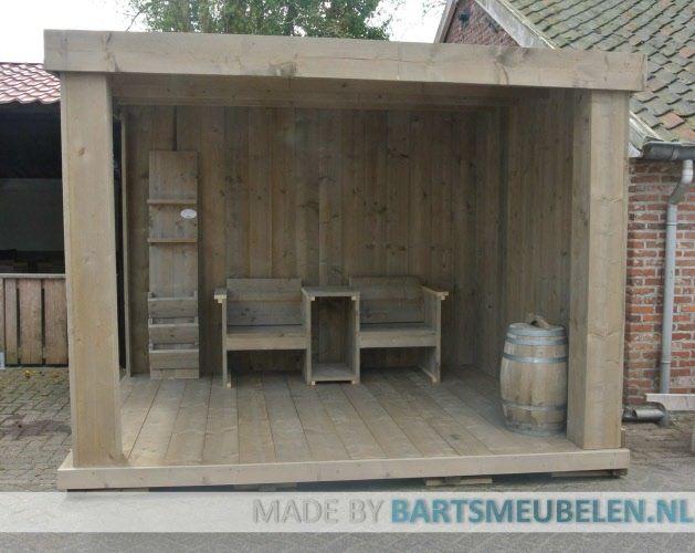 Steigerhouten overkapping met steigerhouten meubelen. Voor meer meubelen zie volg ons op pinterest of kijk op www.bartsmeubelen.nl