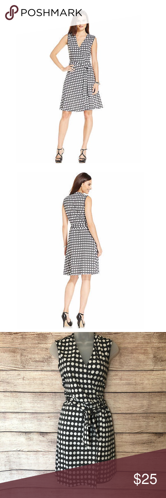 Vince Camuto Black White Polka Dot Wrap Dress Wrap Dress White Polka Dot Vince Camuto Dress [ 1740 x 580 Pixel ]