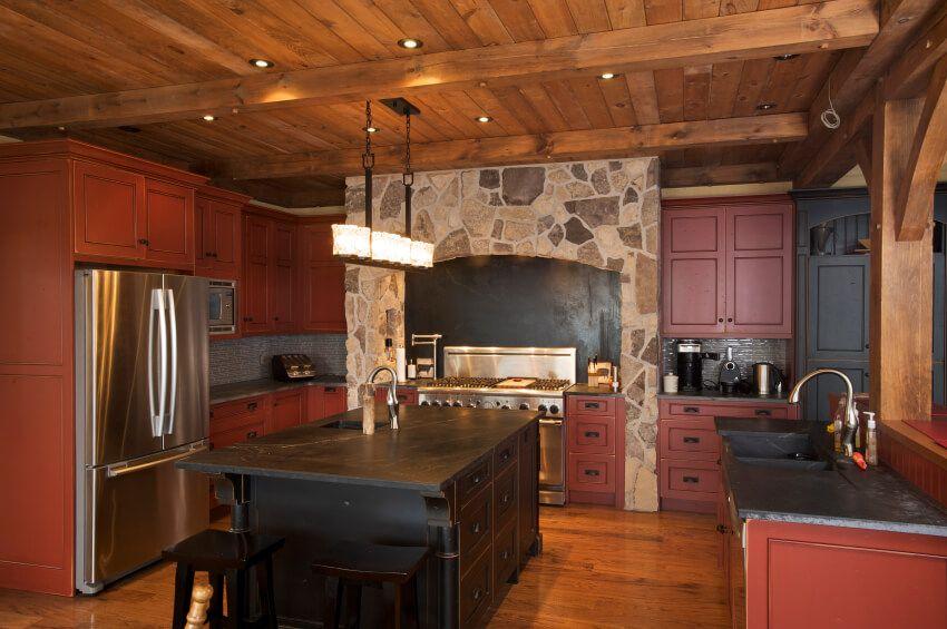 Kitchen Cabinet Design Red And Black