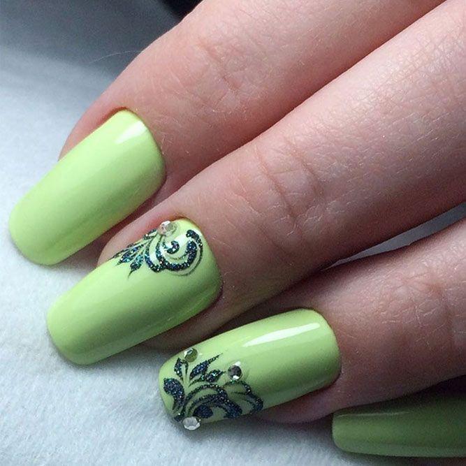 36 Fresh Green Nails Ideas To Get This Season | Pinterest | Belleza