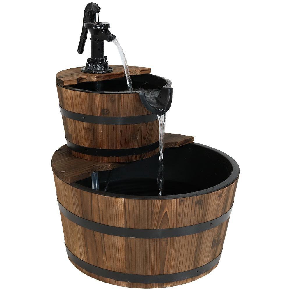 Sunnydaze Decor 23 In 2 Tier Country Wood Barrel Outdoor Water Fountain Fountain Barrel Fountain Submersible Pump