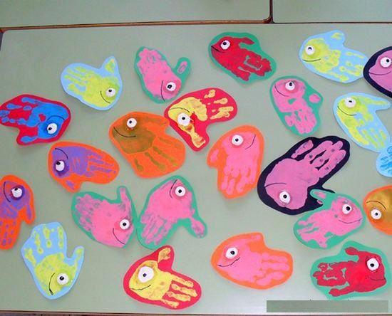 handprint fish craft idea Crafts Pinterest Manualidades - ideas creativas y manualidades