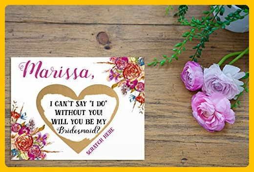 PERSONALIZED Scratch Off GOLD HEART Will you be my: Maid of Honor, Matron of Honor, Bridesmaid Ask Card with Metallic Envelope. Will you be my bridesmaid? Card - Wedding party invitations (*Amazon Partner-Link)