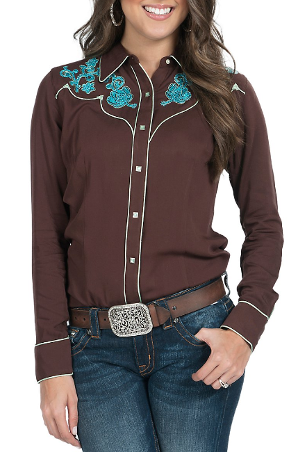 7b37f8ba19 Cumberland Outfitters Ladies White with Black Piping Long Sleeve ...