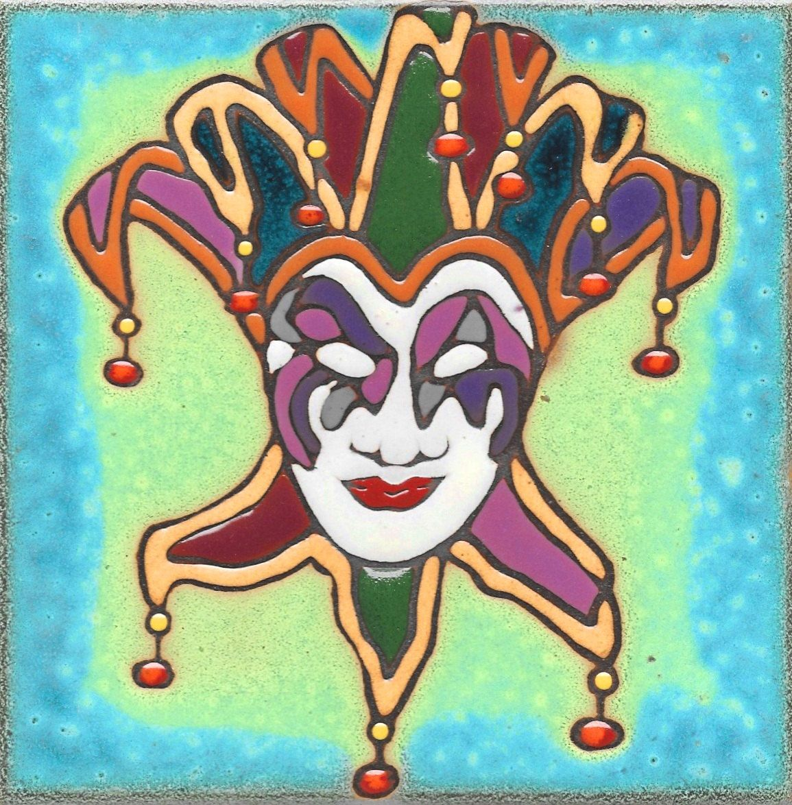 Ceramic Tile Mardis Gras Jester Mask Hot Plate Wall Decor