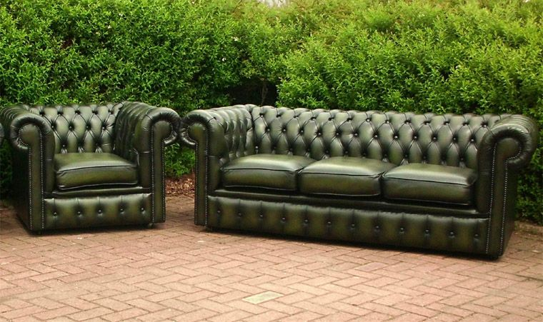 Green Leather Chesterfield Sofa | Houses (Architecture and Design ...