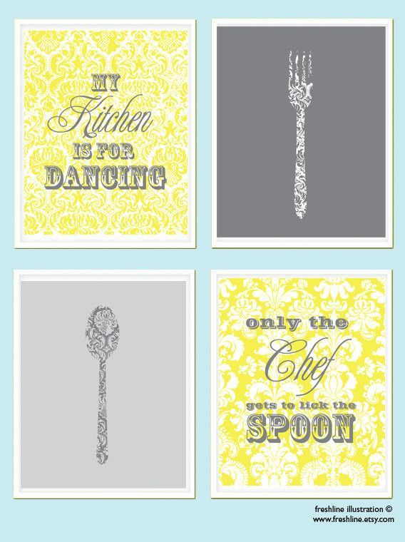 Kitchen Print Set - Kitchen Wall Art - Kitchen Quote - Spoon - Fork ...