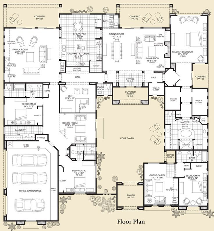 Flooring Plan Courtyard House Plans House Plans Floor Plans