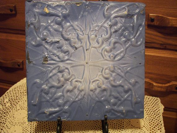 Rustic Vintage 12x12 Tin Ceiling Tile Will Sit In Easal Or Hang On Wall Tin Ceiling Tiles Tin Ceiling Ceiling Tile
