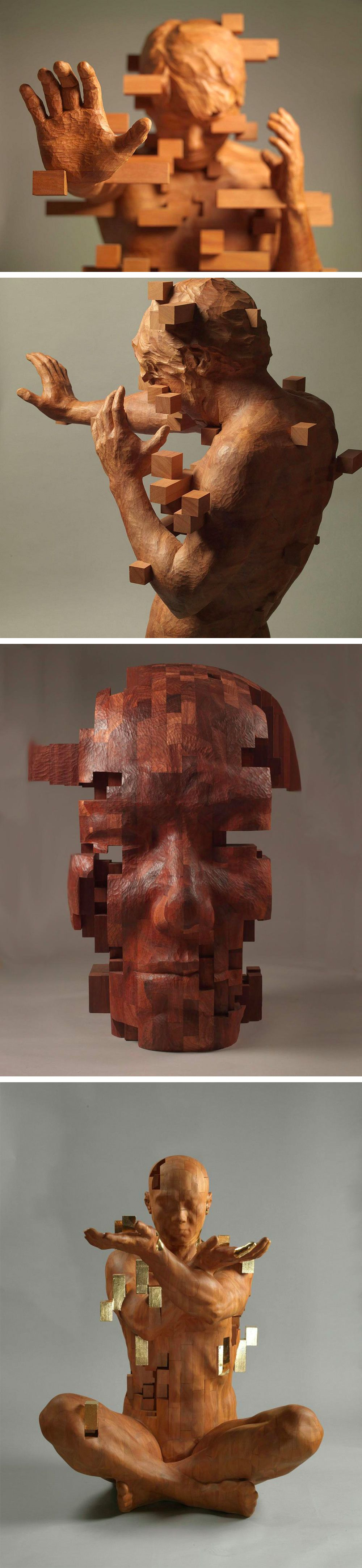 Pixelated Wood Sculptures Carved By Hsu Tung Han Character - Taiwanese sculpture uses wood to create sculptures of people effected by pixelated glitches
