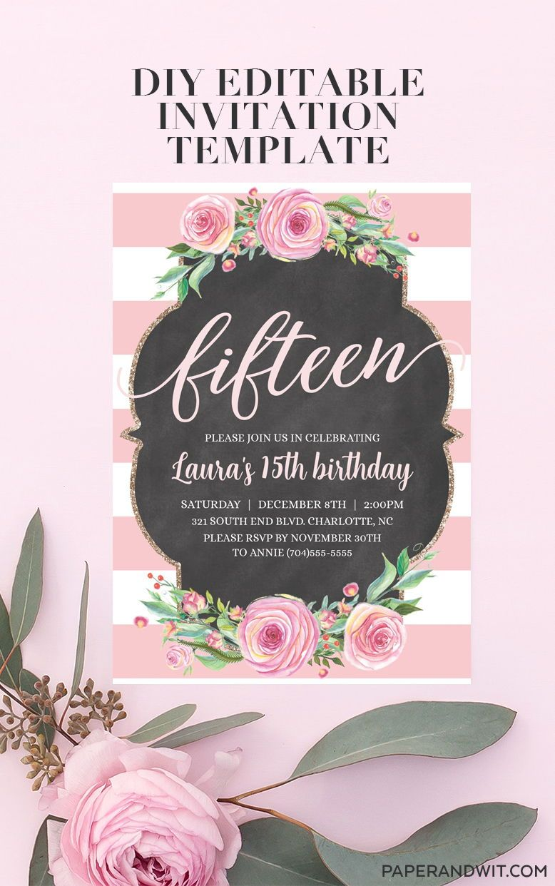 15th birthday invitation template