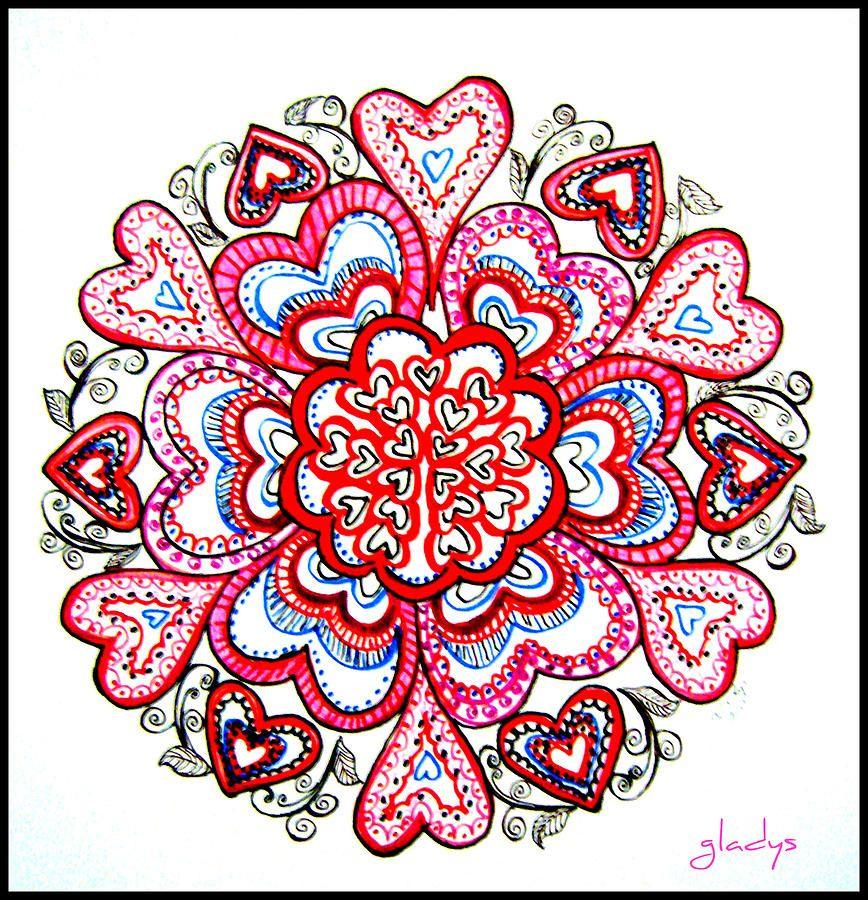 heart mandala   Heart Mandala Drawing by Gladys Childers - Heart ...