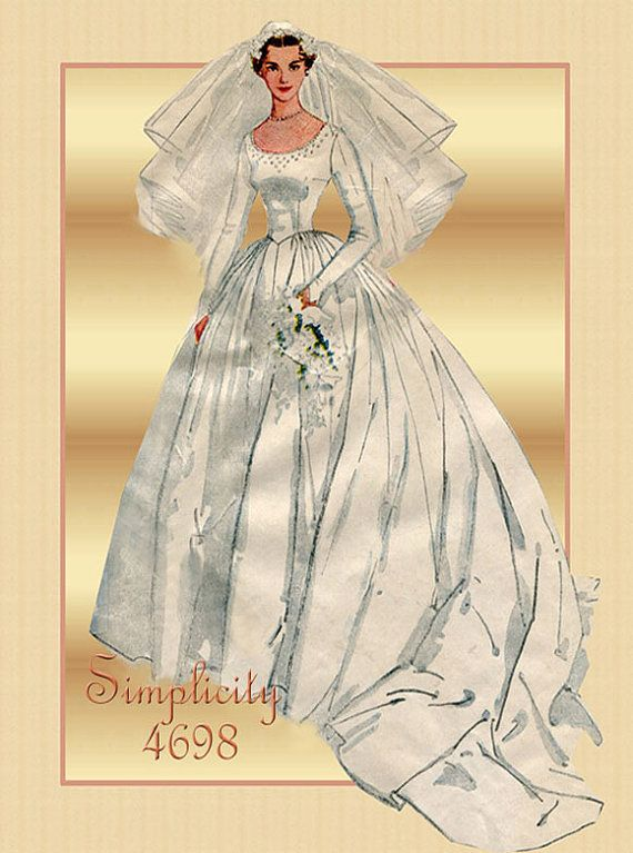 1950s Wedding Dress Pattern Simplicity 4698 Bridal Gown Pattern with ...