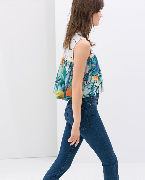 ZARA - NEW THIS WEEK - CROP FLORAL TOP WITH FRILLS