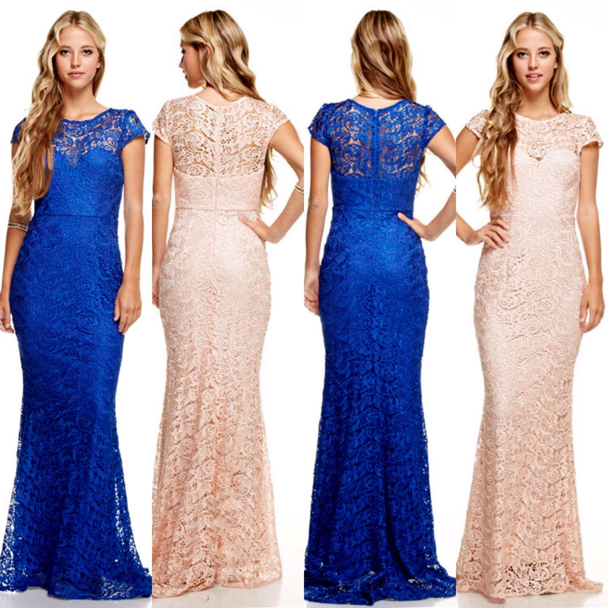 Affordable long lace Bridesmaid Dress Royal Blue and Blush