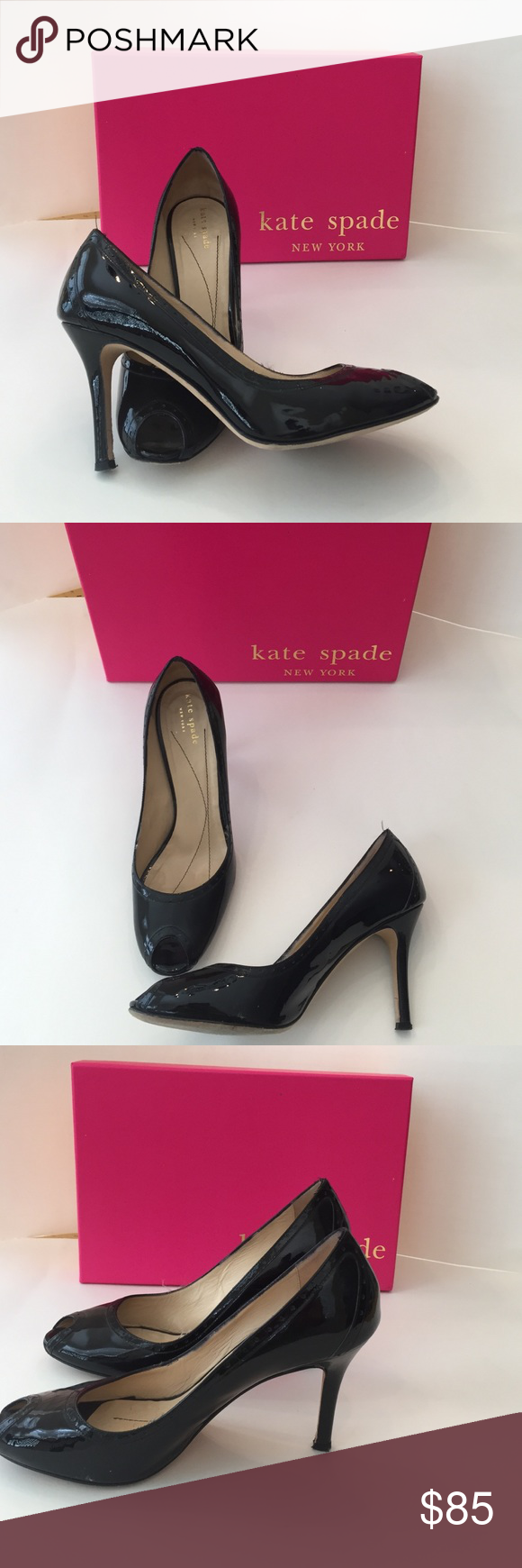 Kate Spade♣️ Peep Toe Heels Size 8 1/2, women's black patent heels‼️ 3 1/2 inch heels! Slightly worn and in great condition! Box not included!! Comment for more information kate spade Shoes Heels