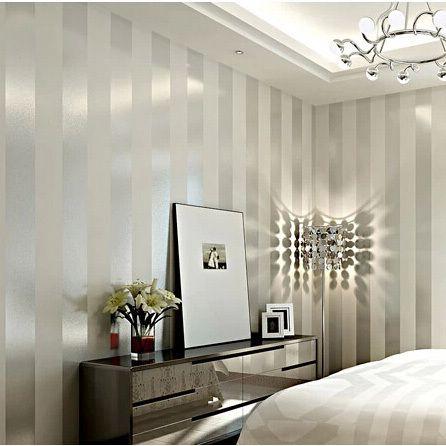 Compre modernos sliver e branco listrado - Papel pared moderno ...
