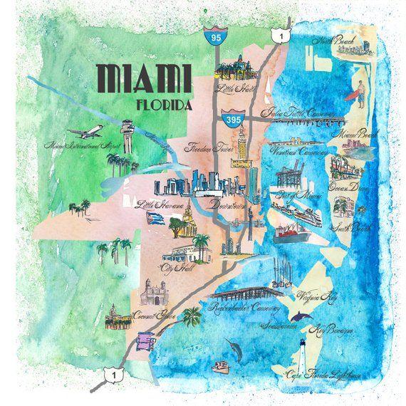 Karte Florida Miami.Miami Florida Illustrated Fine Art Print Retro Vintage Map