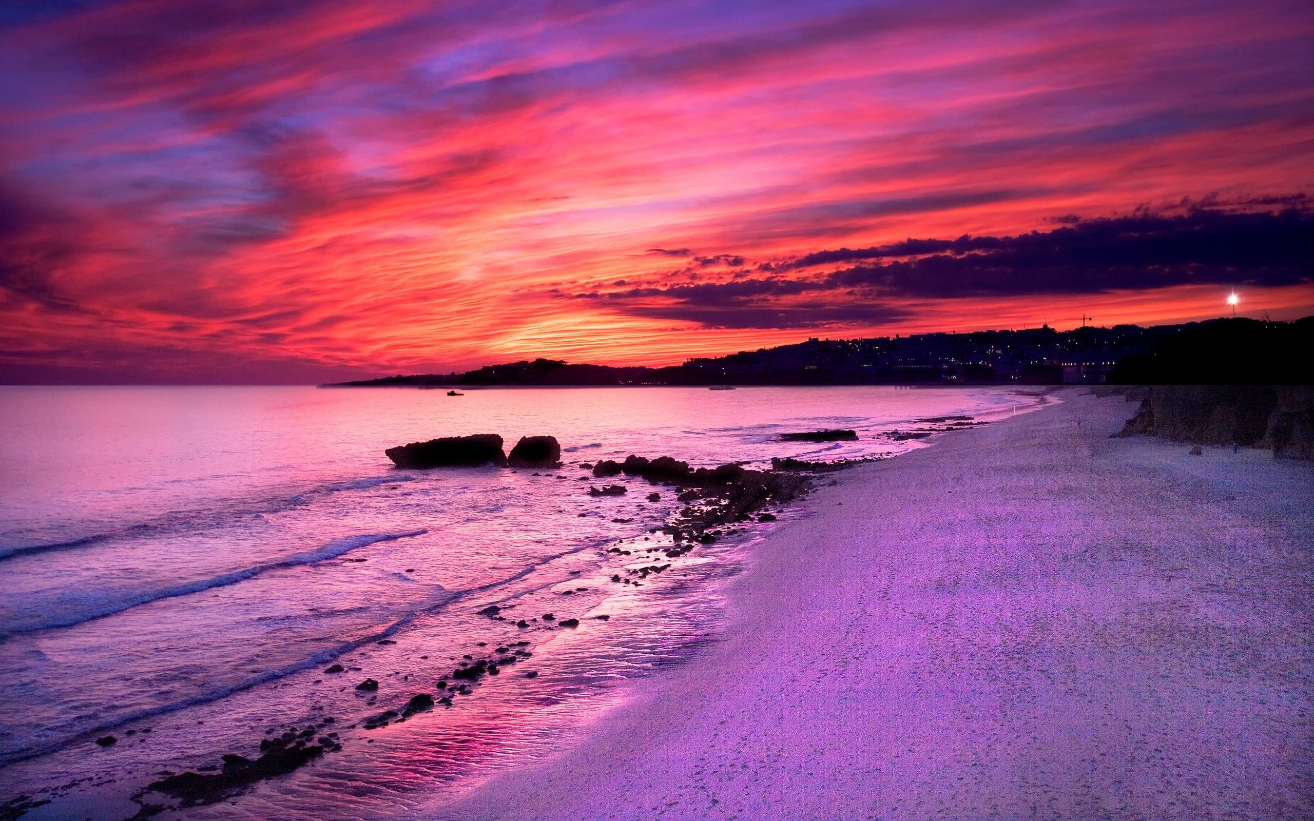 картинки фиолетовый закат над морем открытка тебя