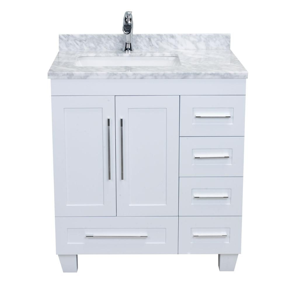 Eviva Loon 30 50 In W X 22 In D X 34 In H Vanity In White With Carrera Marble Vanity Top In White With White Basin Evvn999 30wh The Home Depot White