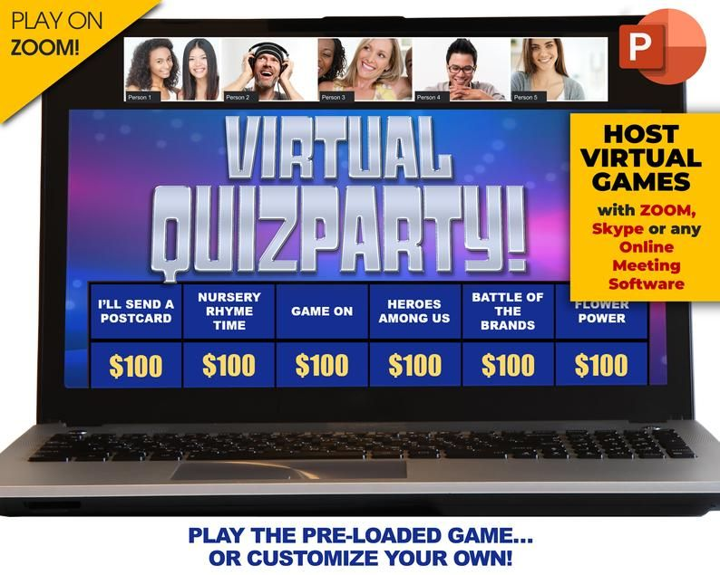and iPad Compatible Zoom Virtual or In Person Friday Movie Trivia Party Game PC PowerPoint Game Mac