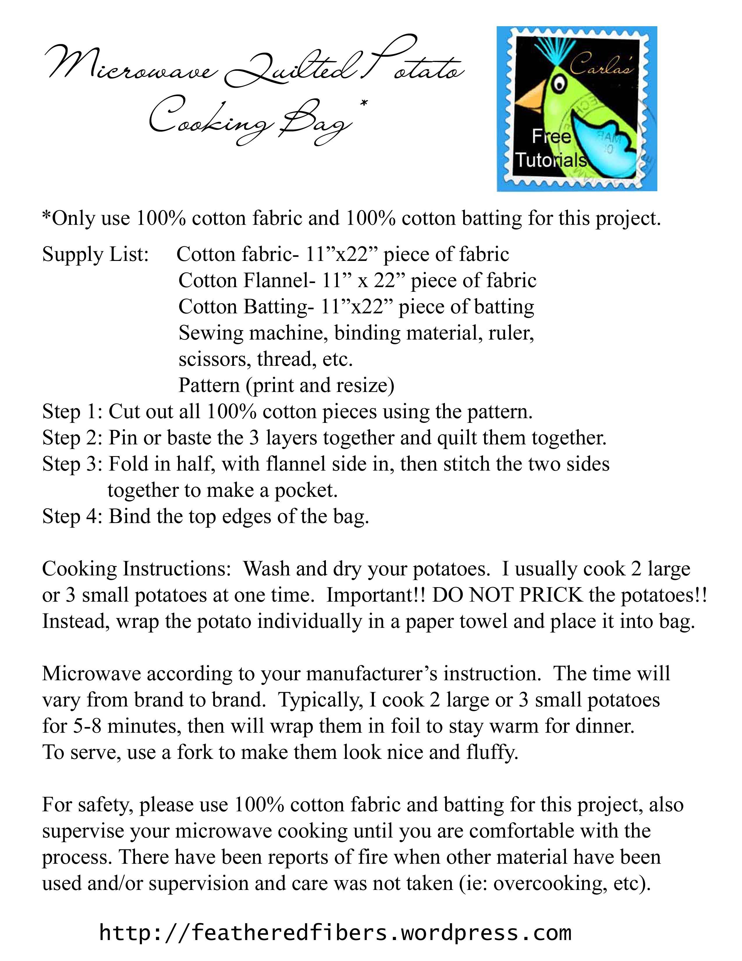 microwave potato bag pattern free