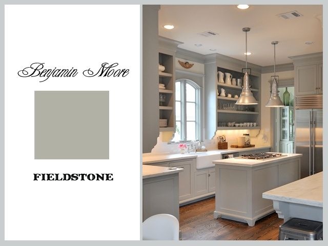 benjamin moore fieldstone - gray cabinets, darker floors ...
