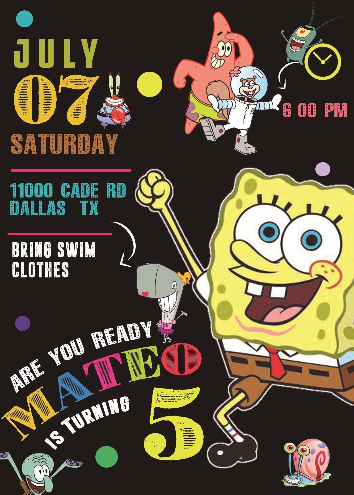 Spongebob Squarepants Birthday Invitation Oscarsitosroom Spongebob Birthday Party Spongebob Birthday Spongebob Squarepants Party