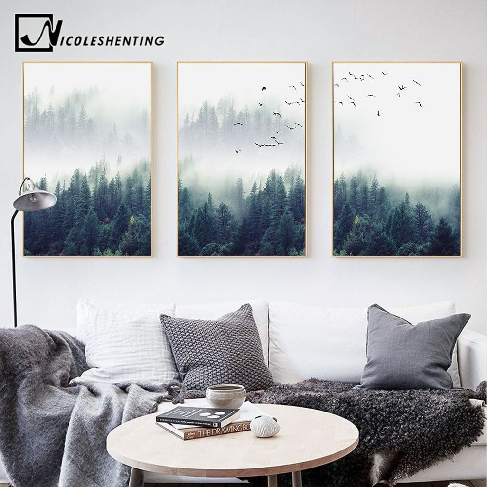 US .59 |Nordic Dekoration Wald Lanscape Wand Kunst Leinwand Poster und Druck Leinwand Maler... in 2020 | Living room decor pictures, Rooms home decor, Living room art