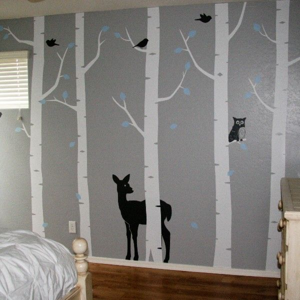 Birch tree woodland forest wall decal set would for Bird and owl tree wall mural set