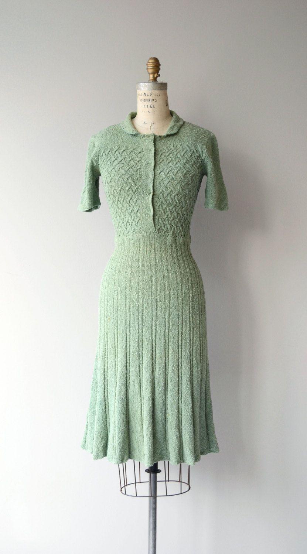 Greenleaf Knit Dress Vintage 1930s Knit Dress Wool Knit 30s Dress Vintage Dresses Dresses Vintage Knitwear